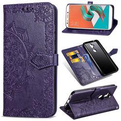 Embossing Imprint Mandala Flower Leather Wallet Case for Asus Zenfone 5 Lite ZC600KL - Purple