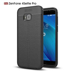 Luxury Auto Focus Litchi Texture Silicone TPU Back Cover for Asus Zenfone 4 Selfie Pro ZD552KL - Black