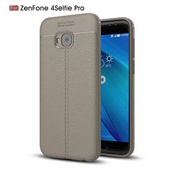 Luxury Auto Focus Litchi Texture Silicone TPU Back Cover for Asus Zenfone 4 Selfie Pro ZD552KL - Gray