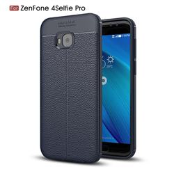 Luxury Auto Focus Litchi Texture Silicone TPU Back Cover for Asus Zenfone 4 Selfie Pro ZD552KL - Dark Blue