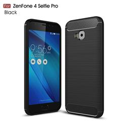Luxury Carbon Fiber Brushed Wire Drawing Silicone TPU Back Cover for Asus Zenfone 4 Selfie Pro ZD552KL - Black