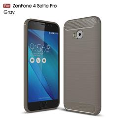 Luxury Carbon Fiber Brushed Wire Drawing Silicone TPU Back Cover for Asus Zenfone 4 Selfie Pro ZD552KL - Gray