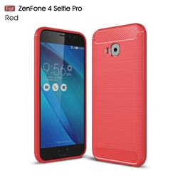 Luxury Carbon Fiber Brushed Wire Drawing Silicone TPU Back Cover for Asus Zenfone 4 Selfie Pro ZD552KL - Red
