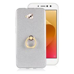 Luxury Soft TPU Glitter Back Ring Cover with 360 Rotate Finger Holder Buckle for Asus Zenfone 4 Selfie ZD553KL - White