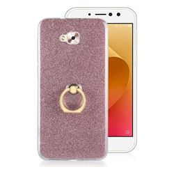 Luxury Soft TPU Glitter Back Ring Cover with 360 Rotate Finger Holder Buckle for Asus Zenfone 4 Selfie ZD553KL - Pink