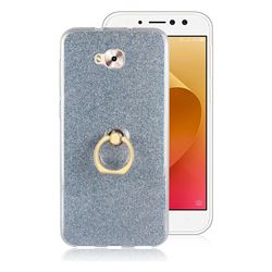 Luxury Soft TPU Glitter Back Ring Cover with 360 Rotate Finger Holder Buckle for Asus Zenfone 4 Selfie ZD553KL - Blue