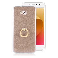 Luxury Soft TPU Glitter Back Ring Cover with 360 Rotate Finger Holder Buckle for Asus Zenfone 4 Selfie ZD553KL - Golden