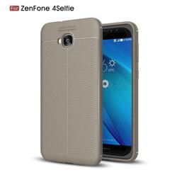 Luxury Auto Focus Litchi Texture Silicone TPU Back Cover for Asus Zenfone 4 Selfie ZD553KL - Gray
