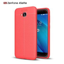 Luxury Auto Focus Litchi Texture Silicone TPU Back Cover for Asus Zenfone 4 Selfie ZD553KL - Red
