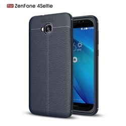 Luxury Auto Focus Litchi Texture Silicone TPU Back Cover for Asus Zenfone 4 Selfie ZD553KL - Dark Blue