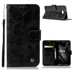 Luxury Retro Leather Wallet Case for Asus Zenfone 4 Selfie ZD553KL - Black
