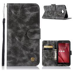 Luxury Retro Leather Wallet Case for Asus Zenfone 4 Selfie ZD553KL - Gray