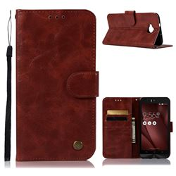 Luxury Retro Leather Wallet Case for Asus Zenfone 4 Selfie ZD553KL - Wine Red