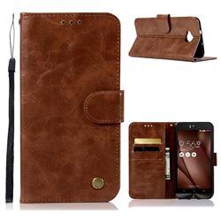 Luxury Retro Leather Wallet Case for Asus Zenfone 4 Selfie ZD553KL - Brown
