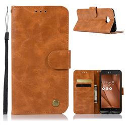 Luxury Retro Leather Wallet Case for Asus Zenfone 4 Selfie ZD553KL - Golden