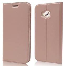 Ultra Slim Card Magnetic Automatic Suction Leather Wallet Case for Asus Zenfone 4 Selfie ZD553KL - Rose Gold
