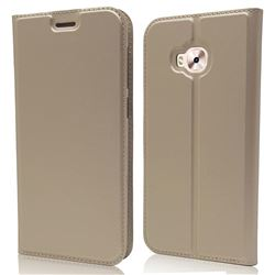 Ultra Slim Card Magnetic Automatic Suction Leather Wallet Case for Asus Zenfone 4 Selfie ZD553KL - Champagne