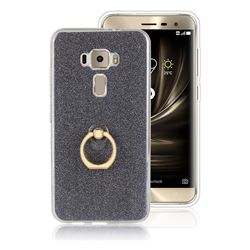 Luxury Soft TPU Glitter Back Ring Cover with 360 Rotate Finger Holder Buckle for Asus Zenfone 3 ZE520KL - Black