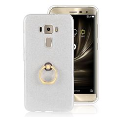 Luxury Soft TPU Glitter Back Ring Cover with 360 Rotate Finger Holder Buckle for Asus Zenfone 3 ZE520KL - White