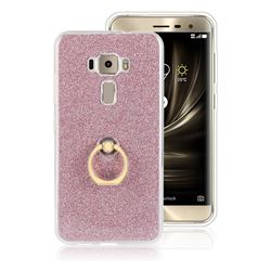 Luxury Soft TPU Glitter Back Ring Cover with 360 Rotate Finger Holder Buckle for Asus Zenfone 3 ZE520KL - Pink