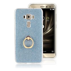 Luxury Soft TPU Glitter Back Ring Cover with 360 Rotate Finger Holder Buckle for Asus Zenfone 3 ZE520KL - Blue