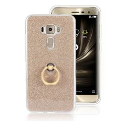 Luxury Soft TPU Glitter Back Ring Cover with 360 Rotate Finger Holder Buckle for Asus Zenfone 3 ZE520KL - Golden