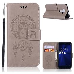 Intricate Embossing Owl Campanula Leather Wallet Case for Asus Zenfone 3 ZE520KL - Grey