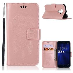 Intricate Embossing Owl Campanula Leather Wallet Case for Asus Zenfone 3 ZE520KL - Rose Gold