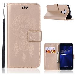 Intricate Embossing Owl Campanula Leather Wallet Case for Asus Zenfone 3 ZE520KL - Champagne