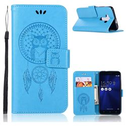 Intricate Embossing Owl Campanula Leather Wallet Case for Asus Zenfone 3 ZE520KL - Blue