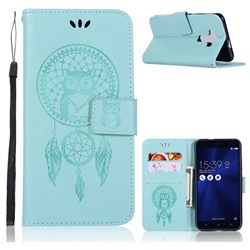 Intricate Embossing Owl Campanula Leather Wallet Case for Asus Zenfone 3 ZE520KL - Green
