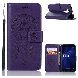 Intricate Embossing Owl Campanula Leather Wallet Case for Asus Zenfone 3 ZE520KL - Purple