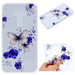 Blue Butterfly Flowers Super Clear Soft TPU Back Cover for Asus Zenfone 3 ZE552KL