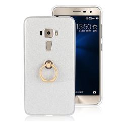 Luxury Soft TPU Glitter Back Ring Cover with 360 Rotate Finger Holder Buckle for Asus Zenfone 3 ZE552KL - White
