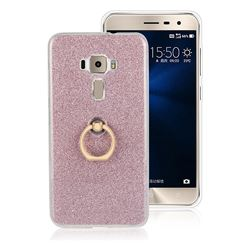 Luxury Soft TPU Glitter Back Ring Cover with 360 Rotate Finger Holder Buckle for Asus Zenfone 3 ZE552KL - Pink