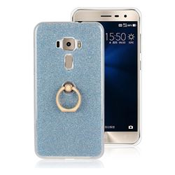 Luxury Soft TPU Glitter Back Ring Cover with 360 Rotate Finger Holder Buckle for Asus Zenfone 3 ZE552KL - Blue