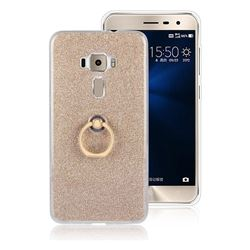 Luxury Soft TPU Glitter Back Ring Cover with 360 Rotate Finger Holder Buckle for Asus Zenfone 3 ZE552KL - Golden