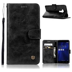 Luxury Retro Leather Wallet Case for Asus Zenfone 3 ZE552KL - Black