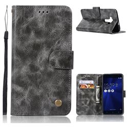 Luxury Retro Leather Wallet Case for Asus Zenfone 3 ZE552KL - Gray
