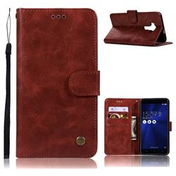 Luxury Retro Leather Wallet Case for Asus Zenfone 3 ZE552KL - Wine Red