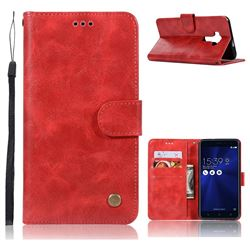 Luxury Retro Leather Wallet Case for Asus Zenfone 3 ZE552KL - Red