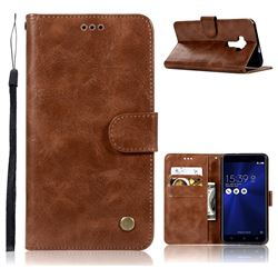 Luxury Retro Leather Wallet Case for Asus Zenfone 3 ZE552KL - Brown