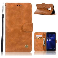 Luxury Retro Leather Wallet Case for Asus Zenfone 3 ZE552KL - Golden