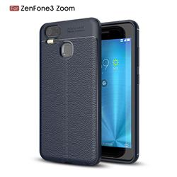 Luxury Auto Focus Litchi Texture Silicone TPU Back Cover for Asus Zenfone 3 Zoom ZE553KL - Dark Blue