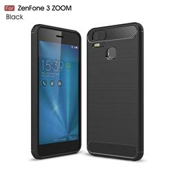 Luxury Carbon Fiber Brushed Wire Drawing Silicone TPU Back Cover for Asus Zenfone 3 Zoom ZE553KL - Black