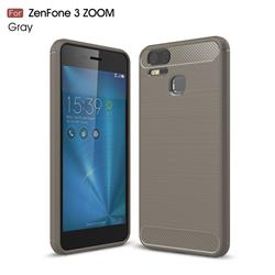 Luxury Carbon Fiber Brushed Wire Drawing Silicone TPU Back Cover for Asus Zenfone 3 Zoom ZE553KL - Gray