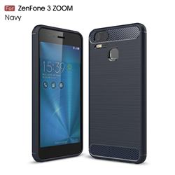 Luxury Carbon Fiber Brushed Wire Drawing Silicone TPU Back Cover for Asus Zenfone 3 Zoom ZE553KL - Navy