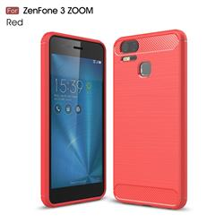 Luxury Carbon Fiber Brushed Wire Drawing Silicone TPU Back Cover for Asus Zenfone 3 Zoom ZE553KL - Red
