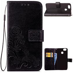 Embossing Imprint Four-Leaf Clover Leather Wallet Case for Asus Zenfone 3 Zoom ZE553KL - Black