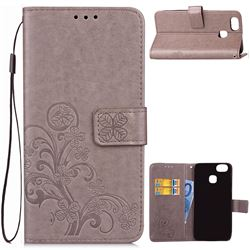 Embossing Imprint Four-Leaf Clover Leather Wallet Case for Asus Zenfone 3 Zoom ZE553KL - Grey